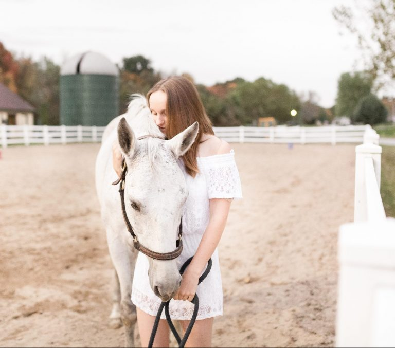 A Chelmsford high school senior pictures session at Harmony Horse Stables by The Ewings Photography Studio